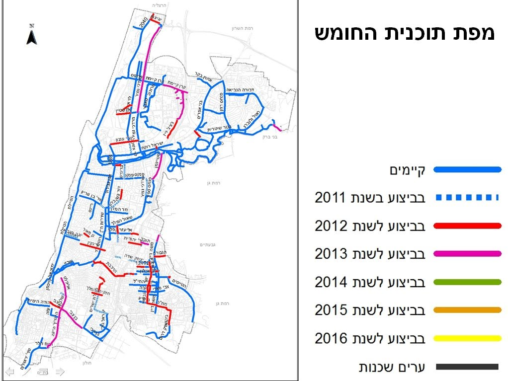 Five year bicycle plan for Tel Aviv maps Sustainabilityorgil