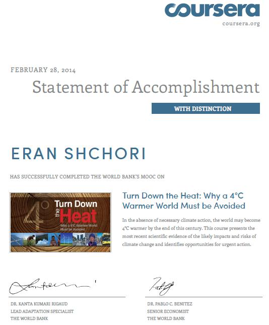 Eran Shchori statement of accomplishment Warmer world The world bank